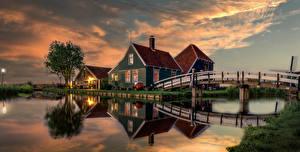 Bilder Niederlande Abend Haus Brücke Kanal Zaanse Schans Natur