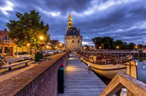 Image Netherlands Evening Marinas Riverboat Waterfront Street lights Hoorn