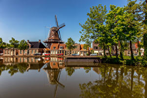 Wallpapers Netherlands Houses Canal Windmill Trees Meppel Cities