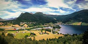 Fotos Norwegen Gebirge Wolke Dorf Grodas Natur