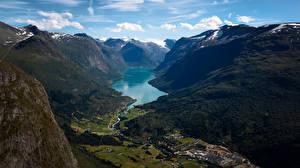Bilder Norwegen Gebirge Fjord Ein Tal Lodalen