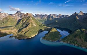 Fondos de Pantalla Noruega Montañas Islas Lofoten Fiordo  Naturaleza imágenes