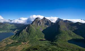 Bilder Norwegen Gebirge Lofoten Wolke Stauren Natur
