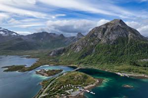 Bakgrunnsbilder Norge Fjell Lofoten Skyer Ovenfra Vestpollen Natur