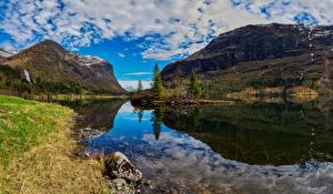 Bakgrunnsbilder Norge Fjell Landskapsfotografering Skyer Fjord Hardanger Natur