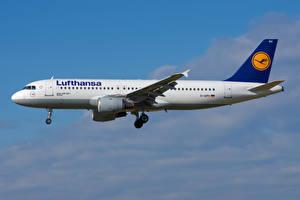 Bakgrundsbilder på skrivbordet Flygplan Passagerarplan Airbus Sidovy A320-200, Lufthansa Luftfart
