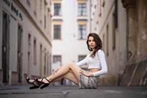 Bakgrundsbilder på skrivbordet Sitter Ben Kjol Blus Blick Qendresa ung kvinna