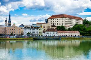 Bureaubladachtergronden Rivieren Huizen Oostenrijk Danube, Lentia Apartments, Linz, land Upper Austria