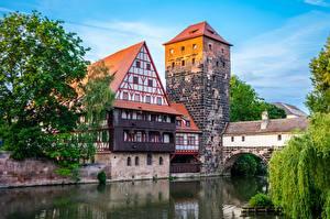 Bakgrunnsbilder Elver Elv Hus Tyskland Tårn Bayern Nuremberg