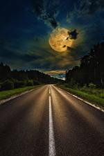 Bureaubladachtergronden Wegen Hemelgewelf Nacht Maan Wolken Natuur