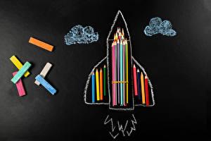 Hintergrundbilder Rakete Bleistift Mehrfarbige