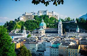 Bureaubladachtergronden Salzburg Oostenrijk Gebouw Burcht Steden