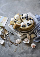 Fondos de escritorio Concha Pastel de queso Cuchara Trozos comida