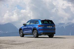 Bilder Skoda Blau Metallisch Softroader Hinten Kodiaq RS, (Worldwide), 2021 auto