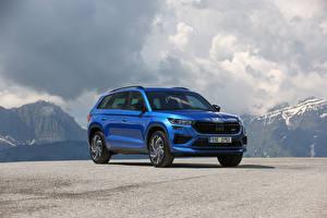 Bilder Skoda Softroader Blau Metallisch Kodiaq RS, (Worldwide), 2021 Autos