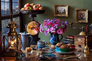 Images Still-life Bouquet Apples Paraffin lamp Coffee Fairy cake Vase Mug Food Flowers