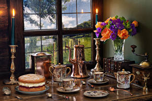 Photo Still-life Cakes Candles Bouquets Roses Phlox Cup Spoon Vase Window flower Flowers