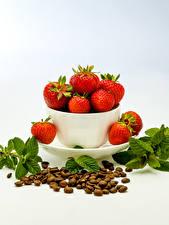 Bilder Erdbeeren Kaffee Grauer Hintergrund Getreide Lebensmittel