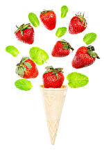 Image Strawberry Ice cream cone White background