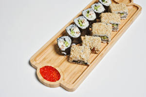 Wallpapers Sushi Roe Gray background Cutting board Food
