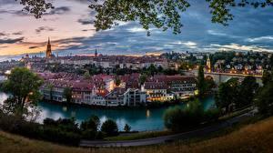 Desktop wallpapers Switzerland Bern Building River Bridges Panoramic Aare river Cities