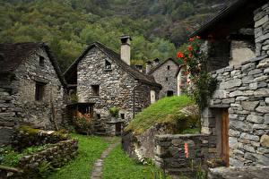 Bureaubladachtergronden Zwitserland Huizen Gemaakt van steen Alpen Ticino Natuur