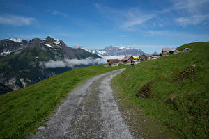 Bureaubladachtergronden Zwitserland Berg Wegen Gebouw Alpen Heidmanegg Natuur