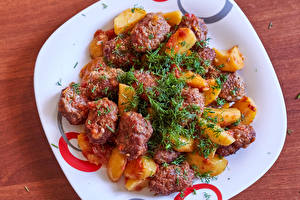 Photo The second dishes Meat products Potato Dill Plate