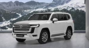 Papel de Parede Desktop Toyota Branco Metálico Land Cruiser, (EU-spec), (300), 2021 automóveis