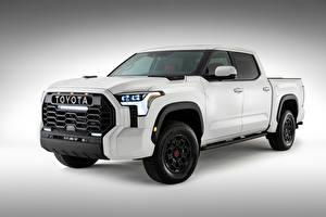Papel de Parede Desktop Toyota Branco Metálico Pickup Tundra TRD Pro CrewMax, 2021 Carros