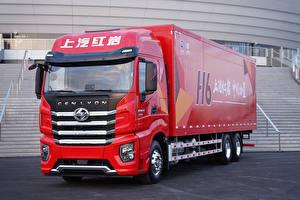 Fondos de escritorio Camion Rojo Metálico China Hongyan Genlyon automóviles