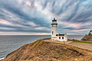 Tapety na pulpit Stany zjednoczone Wybrzeże Latarnia morska Waszyngton (stan) North Head Lighthouse przyroda