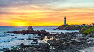 Tapety na pulpit Stany zjednoczone Wybrzeże Latarnie morskie Kalifornia Pigeon Point Lighthouse Natura