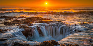 Pictures USA Coast Ocean Sunrises and sunsets Cape Perpetua, Oregon