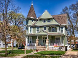Hintergrundbilder USA Eigenheim Design Franklin Square Historic District, Bloomington, Illinois Städte