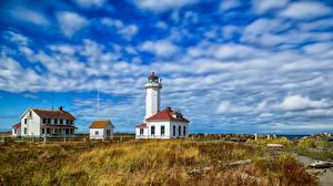 Bureaubladachtergronden Amerika Vuurtoren Hemelgewelf Washington (staat) Wolken Point Wilson Lighthouse