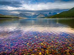 Photo USA Parks Lake Mountains Clouds Lake McDonald, Glacier National Park Nature