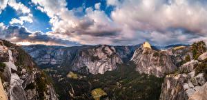 Hintergrundbilder USA Parks Gebirge Panorama Felsen Yosemite Wolke Kalifornien Glacier Point Natur