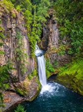 Bakgrunnsbilder Amerika En foss Klippe Toketee Falls, Oregon