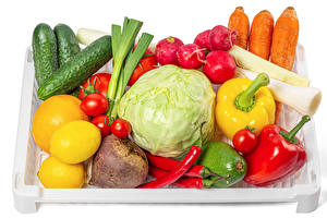 Pictures Vegetables Carrots Radishes Cucumbers Bell pepper Tomatoes Lemons White background