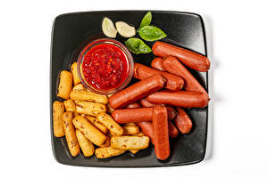 Wallpapers Vienna sausage Finger chips Garlic White background Ketchup