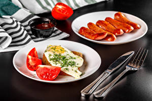 Wallpaper Vienna sausage Tomatoes Knife Gray background Fork Fried egg Ketchup Food