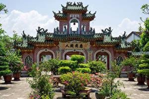 Fonds d'écran Viêt Nam Pagodes Temple Sculptures Arbrisseau Phuc Kien Pagoda in Hoi An Villes