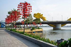 Papel de Parede Desktop Vietnã Rios Ponte Coração Han River in Da Nang Cidades