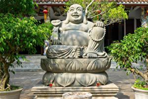Desktop hintergrundbilder Vietnam Tempel Skulpturen Buddha Buddha Statue in Da Nang Natur