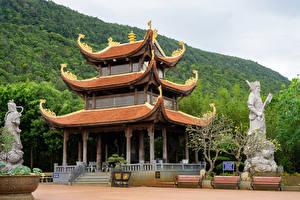 Bakgrunnsbilder Vietnam Tempel Skulptur Hagebenk Buddhist Temple Truc Lam Ho Quco Zen Monastery on Phu Quoc Island