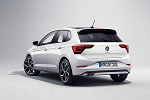 Picture Volkswagen White Metallic Back view Gray background Polo GTI, (Worldwide), (Typ AW), 2021 Cars