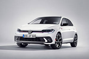 Pictures Volkswagen White Metallic Gray background Polo GTI, (Worldwide), (Typ AW), 2021