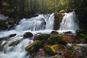 Wallpaper Waterfalls Stones Crag Moss