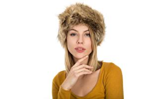 Pictures White background Blonde girl Winter hat Staring Hands Girls
